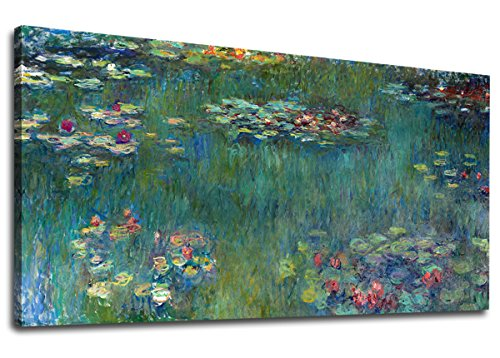 Canvas Wall Art Water Lilies by Claude Monet Panoramic Scenery Painting - Long Green Garden Canvas Artwork Reproductions Contemporary Nature Picture for Home Office Wall Decor 20' x 40'
