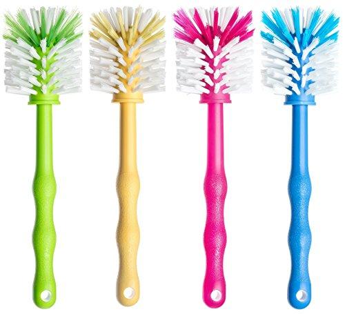 Deine Bürste 4er Set Reinigungsbürste zum Reinigen von Küchenmaschinen mit Mixbehältern, Standmixer usw. Zubehör Spülbürste für Mixbehälter je (1x Grün/ 1x Gelb/ 1x Pink/ 1x Blau)