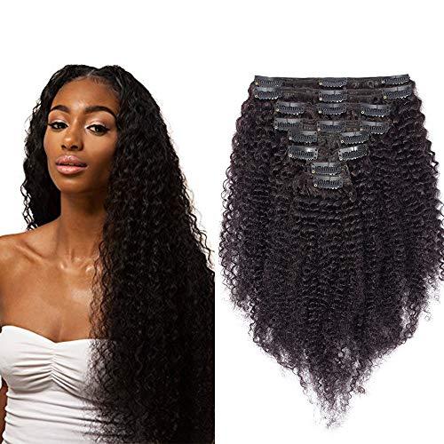 Extension a Clip Cheveux Naturel Kinky Curly [Double Wefts Maxi Volume] Tissage a Clips Bouclé Afro Vrai Humains Meches Bresiliennes Remy Human Hair - 20 Pouce / 50CM 1B# Noir Naturel