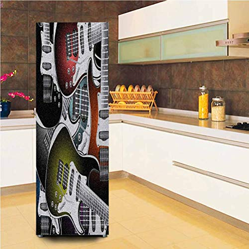 Ira FRANKLIN backgrounds 3D Door Fridge DIY Stickers,Pile of Graphic Colorful Electric Guitars Rock Music Stringed Instruments Vinyl Door Cover Refrigerator Stickers,24x59,for Refrigerator,Multicolor
