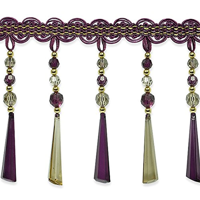 Expo International IR7049PRM-10 10 Yards of Genevieve Bead Fringe Trim, Purple Multi