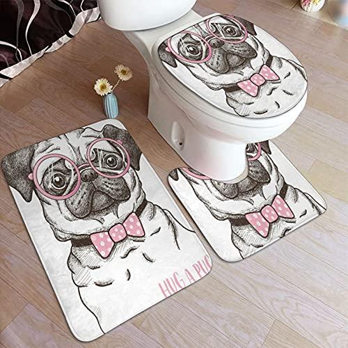 Juegos de alfombra de baño para el hogar, 3 piezas para baño, Pug Pet Dog Pink Bow Tie Gafas extragrandes Dibujado a mano D,Alfombrilla de ducha antideslizante ultra suave, Alfombra de contorno en