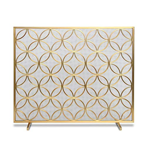 Amazing Deal Fireplace Screens MYL Single Panel Gold Wrought Iron Large Metal Mesh Fire Screen Spark...