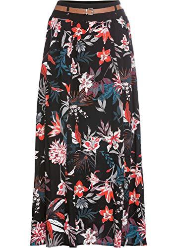 bonprix Wunderschöner Maxirock mit Gürtel und Eingrifftaschen schwarz Bedruckt 42 für Damen