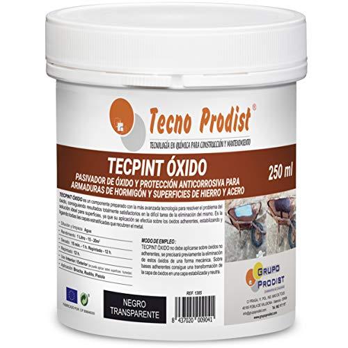 TECPINT OXIDO de Tecno Prodist - 250 ml - Pasivador de óxido al agua - protección anticorrosiva para armaduras – convertidor y transformador de oxido para superficies de hierro y acero