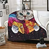 CUAJH Funny Cute Galaxy Cat Pizza Blanket for Adult Kids 50'x60', Lightweight Soft Flannel Fleece Throw Blanket for Bed Couch Sofa Chair Office