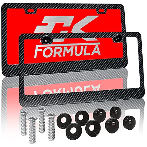 CK Formula Black Carbon Fiber Printed Aluminum License Plate Frames, 2 Screw Holes with Install Kit, UV Protection Clear Coat, Weatherproof, 2 Pieces