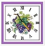 Uva morada Reloj cara Kit de punto de cruz Bordado Conjunto