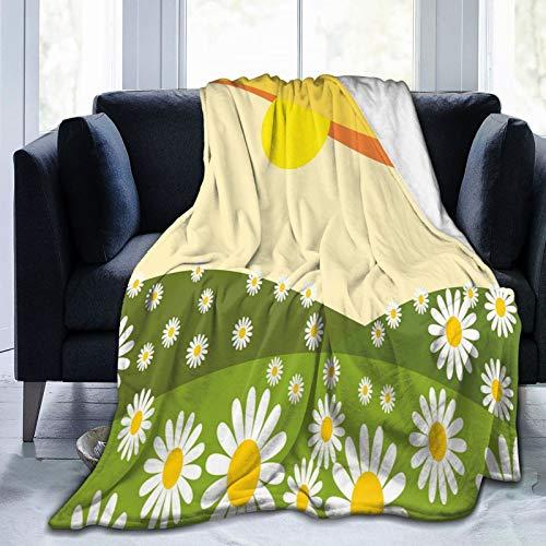 Manta mullida, con diseño de margaritas y campo de flores con manzanillas Hill bajo el sol, dibujos animados idílicos, ultra suave, manta de bebé, para dormitorio, cama, TV, manta de 152 x 127 cm