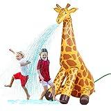 GoFloats Giant Inflatable Giraffe Party Sprinkler - 7 Feet Tall Yard Sprinkler for Kids Summer Fun, Yellow
