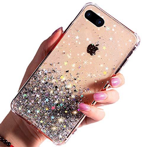 DYBOHF Cover iPhone 7 Plus, Cover iPhone 8 Plus, Custodia con Glitter Bling per Pollici Ultra Sottile Cassa Morbido TPU Silicone Case AntiGraffio(Trasparente)