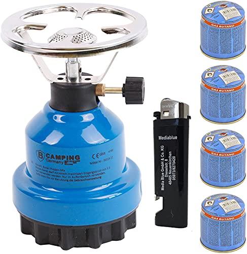 Campingkocher E190 Gaskocher Metall mit 4X Gas (Blau)