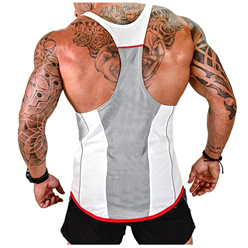 Herren Athletic lässig Tank top,T-Shirt Unterhemden, Ärmellos Weste, Muskelshirt,Fitness Shirt(Weitere Farben), White, XXL