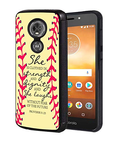 Moto G7 Power Case,Moto G7 Supra Case,Softball Christian Quote Bible Verse 31:25 Design Slim Anti-Scratch Rubber Protective Cover for Motorola Moto G7 Power