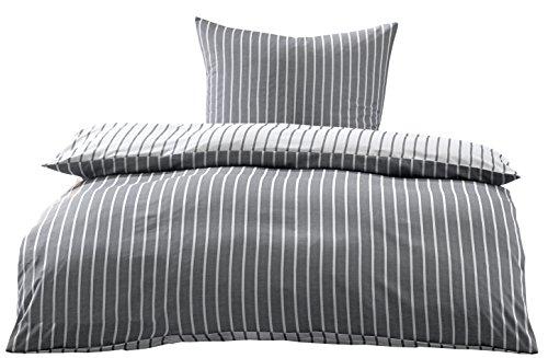 Bettwaesche-mit-Stil Mako Satin Damast Streifen Wendebettwäsche (schwarz, 135cm x 200cm + 80cm x 80cm)