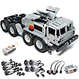 PHYNEDI RC 8x8 Military Truck Tractor Bricks Model with 7 Motors for Soviet MAZ-537, MOC Simulation Car Vehicle Construction Building Set Compatible with Lego Technic (3180 Pieces)