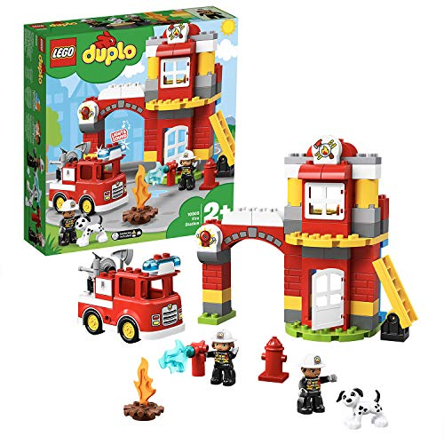 LEGO 10903 DUPLO Feuerwehrwache mit Feuerwehrauto und 2 Feuerwehrfiguren, Licht & Geräusche, Spielzeug für...