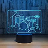 3D LED Lámparas de ilusión óptica Night Light Drum Set Regalos 7 colores Intermitente Cambio Acrílico Iluminación Dormitorio Decoración navideña