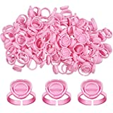 Fenshine 100 PCS Lash Glue Holder Glue Ring Cups Lash Extension Volume Lashes Quick Blossom Cups for Eyelash Extension Supply, 2 Methods of Use (Pink)