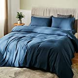 SONORO KATE Bed Sheet Set Bamboo Sheets Deep Pockets 16' Eco Friendly Wrinkle Free Sheets Hypoallergenic Hotel Bedding Machine Washable Silky Soft (Navy Blue, Queen)