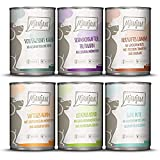 MjAMjAM - Premium Nassfutter für Hunde - Mixpaket II - mit Huhn & Ente, Rind, Pute, Kalb, Truthahn, Lamm, 6er Pack (6 x 400 g), getreidefrei mit extra viel Fleisch