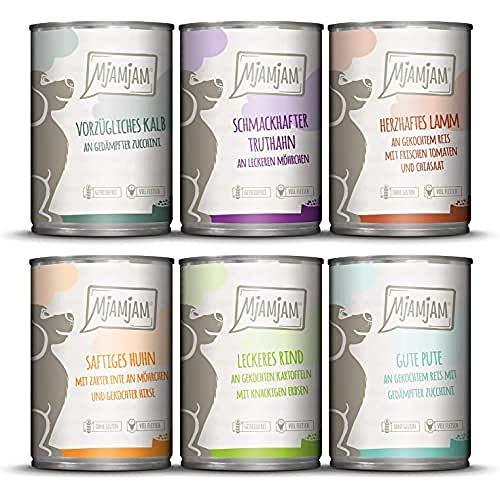 MjAMjAM - Pienso acuoso para Perros - Mix Pack II 1* Pollo & Pato, 1* Ternera, 1* Pavo y arroz, 1* Ternera con calabacín, 1* Pavo y Zanahorias, 1* Cordero 6 x 400 g