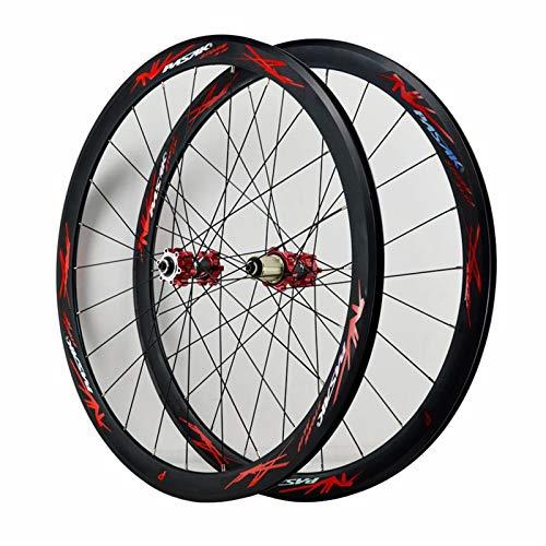700C Freno V Ruedas de Bicicleta MTB Aleación de Aluminio Freno de Disco Alto 40MM 29 Pulg Ruedas de Ciclismo de Carreras para Velocidades de 7/8/9/10/11/12 (Color : Rojo)