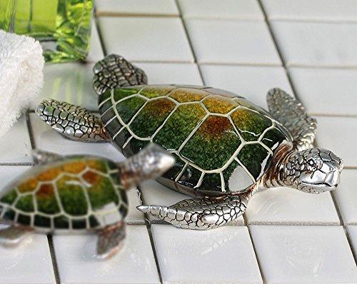 Casablanca Schildkröte Josie Poly,grün/Silber L.18cm