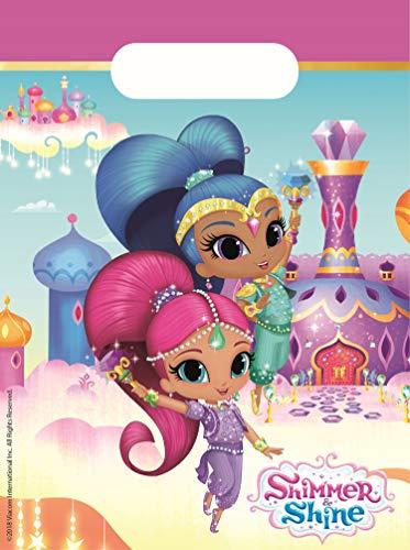 Procos 89947 Partytüten Shimmer & Shine Glitter Friends, 6 Stück, pink, blau