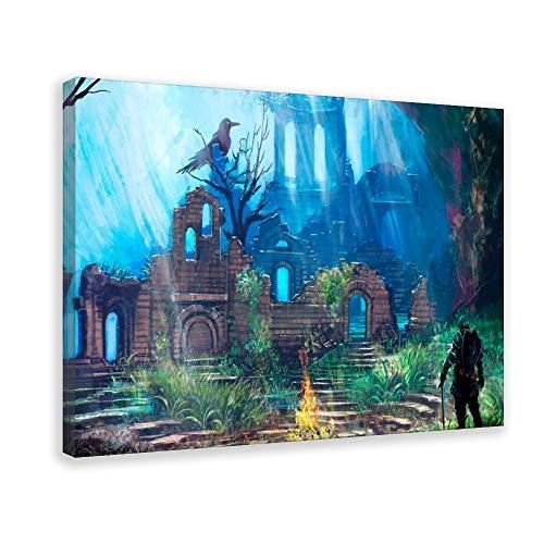 Póster del juego Dark Souls 0 Póster decorativo de la pared de la lona del arte de la sala de estar carteles del dormitorio pintura de 50 x 75 cm (50 x 75 cm) Marco-estilo1