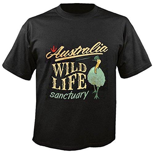 T-shirt Remera vogel struisvogelstruik Australië Fauna Life Streetwear Hiphop Salsa Legendary in zwart
