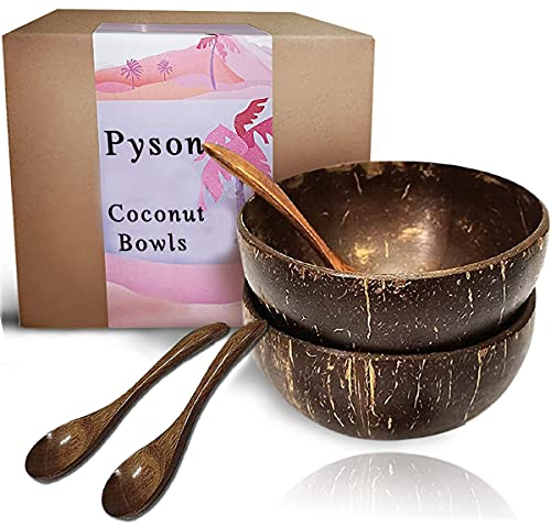 Coconut Bowls and Wooden Spoon Sets, Natural Vegan Organic Salad Smoothie or Buddha Bowl Kitchen Utensils, Oil Eco Friendly Healthy Kitchen Serving
