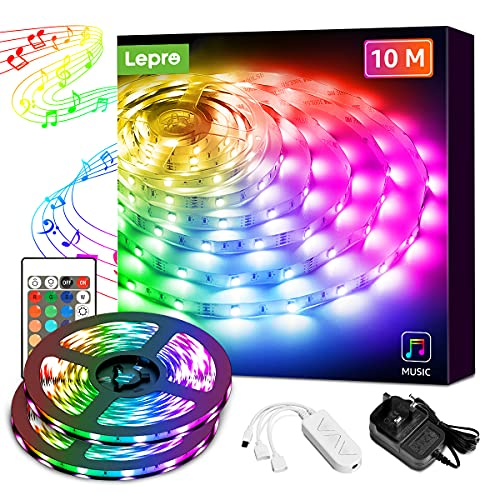 Lepro LED Lights 10M (2x5M), Music Sync LED Strip Lights with Remote and Plug, 300 Bright 5050 LEDs, RGB Colour Changing, Stick on LED Light for Bedrooms, Kitchen, Party, Bar, Kids Room