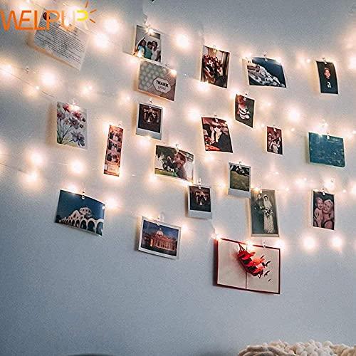 Luces de hadas LED clip de fotos USB al aire libre con pilas guirnalda decoración navideña fiesta de Navidad boda luces navideñas de hadas