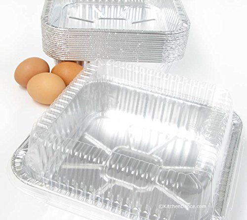 """Disposable Aluminum 9 X 9 X 1 3/4 """" Square Cake Pan with Clear Plastic Lid #1100P (100)"""