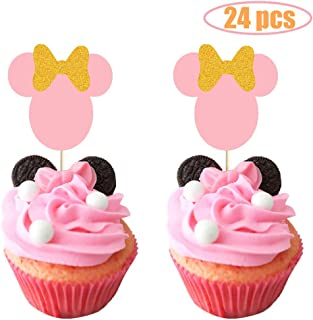 Minnie Mouse Cupcake Topper, Pink and Gold Glitter Minnie Mouse Theme Party Cake Decor, Minnie Mouse Baby Shower Party Supplies Decorations