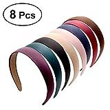 Frcolor Diadema rígida, diadema de satén ancha Diadema diadema antideslizante para niñas, 8 piezas