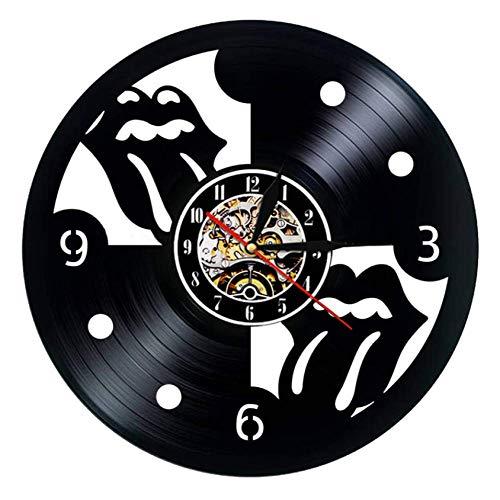XZXMINGY 12 Pulgadas Reloj de Pared de Disco de Vinilo Diseño Moderno The Rolling Stone Rock Band Relojes de música Reloj de Pared Colgante Decoración para el hogar Regalo para fanáticos