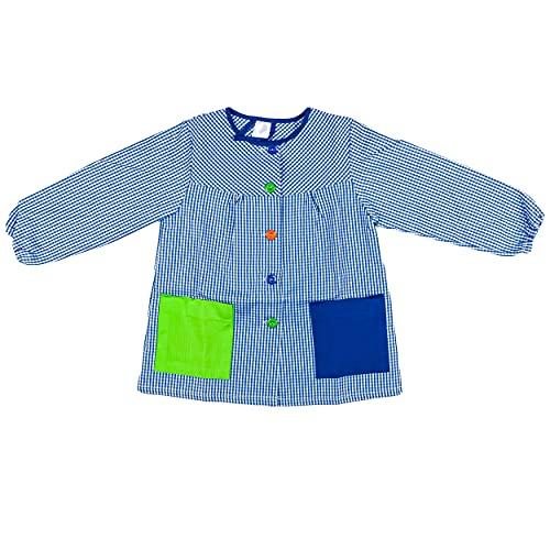 H HANSEL HOME Bata Escolar Infantil Baby Infantil de Cuadros Pequeños (Azul, 4-5 años)