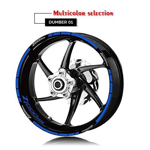 Anhuidsb Motorrad-Reifen und Felge Reflective Dekorative Aufkleber Kombination Räder Aufkleber-Set for Kawasaki Z1000SX mit Logo (Color : XT LQ Z1000SX BLU)