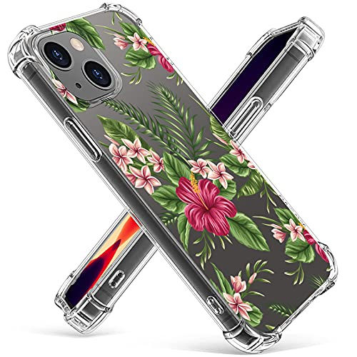 Clear Bumper Case for iphone13 Mini 5G - Stylish Flowers Pattern Flexible Slim Thin Protective Shockproof Collision Avoidance TPU for Women Full Protection Phone Cover for iphone13 Mini 5.4'-3