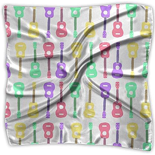 Seda elegante Sensación Colorido Ukelele Patrón Satén Cuadrado Envoltura de bufanda