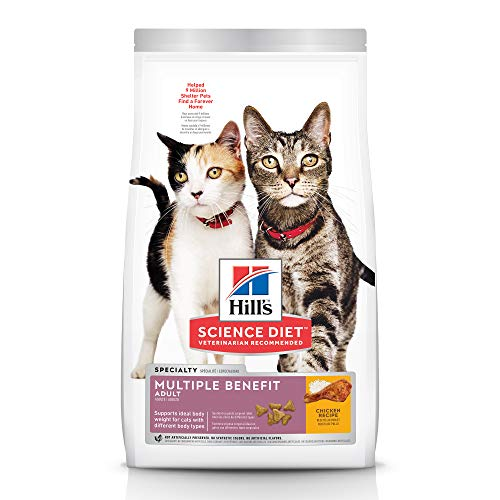 Hill's Science Diet Dry Cat Food, Adult, Multiple Benefit, Chicken Recipe, 7 lb Bag