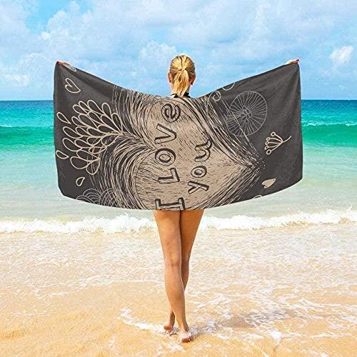 Toalla de Playa Toalla de baño de Microfibra Retro Heart Súper Absorbente Speed Dancing Manta de Picnic Toalla de Playa para Hombres y Mujeres (80x130cm)
