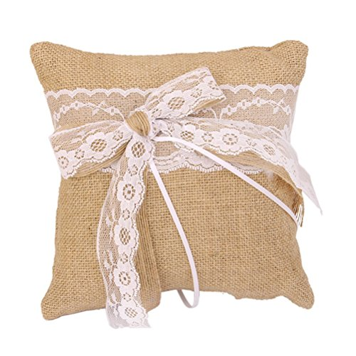 EBTOYS Wedding Ring Pillow Wedding Ring Cushion Burlap Jute Ring Bearer Pillow with Lace Trim Bowknot,7.8 & 7.8inch