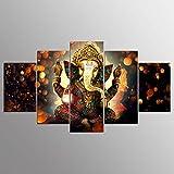 Arte de la Pared Pintura de la Lona Elefante Dios Estilo Fotos para Sala de Estar 5 Piezas Señor Ganesha Cuadros decoración Moderna Pinturas-S