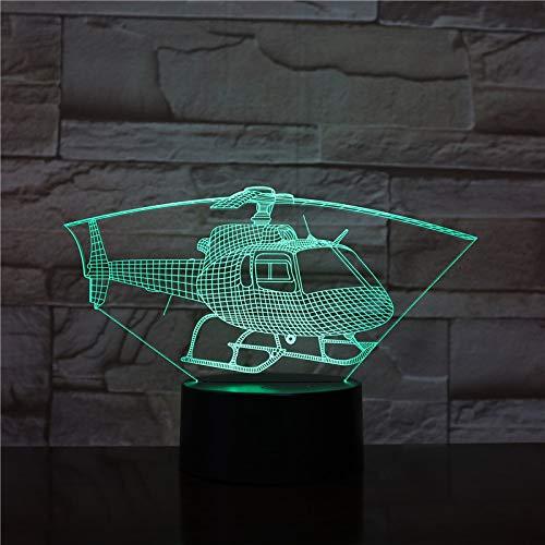BFMBCHDJ Hubschrauber Flugzeug 7/16 Farben Chang 3D LED Nachtlicht Schlaf Schlafzimmer Dekor Lampe Mann Jungen Geschenk