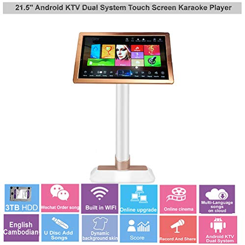 Best Price! 21.5'' HAJURIZ Touch Screen Karaoke Player,3TB HDD Preloaded with English,Cambodian song...