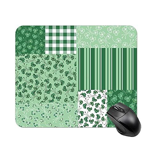 Tartan Mauspad Rutschfeste Gummiunterseite Mousepad Grüne Kleeblätter Faux Patchwork Muster Mauspad für Laptop, Computer & PC Computer