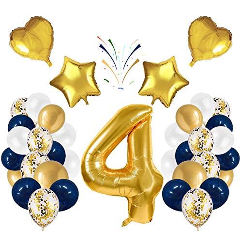Globo número 4 Korins, número gigante 0 1 2 3 4 5 6 7 8 9 Globo de papel de aluminio con 24 globos de confeti de látex, decoración de aniversario de fiesta de cumpleaños